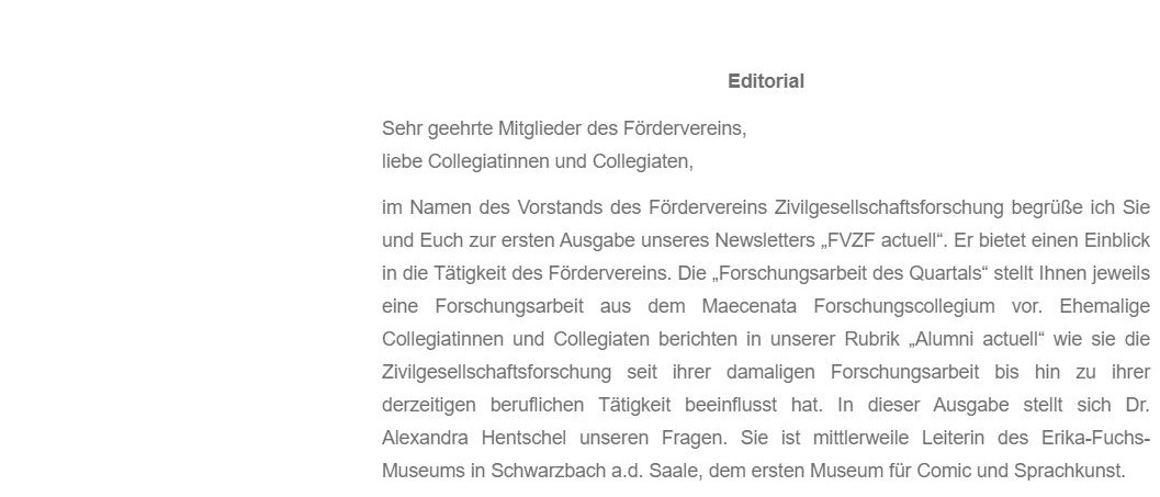 Newsletter FVZF Actuell